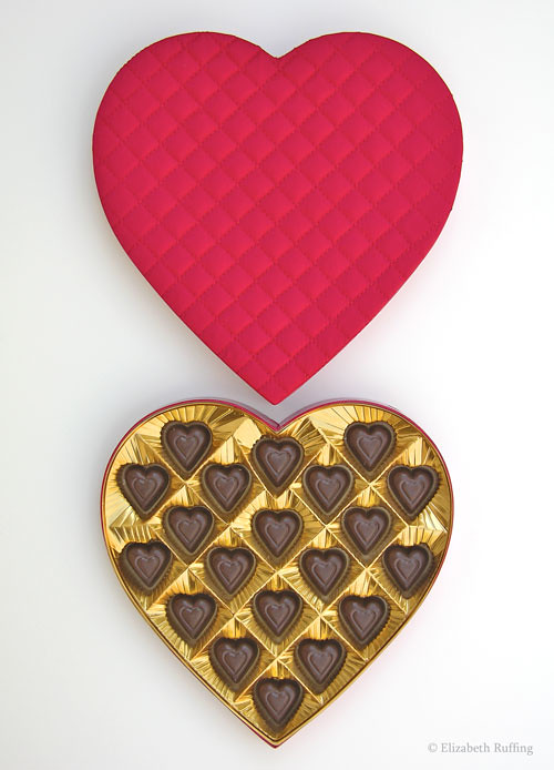 Valentine's Day box of chocolates, quilted box