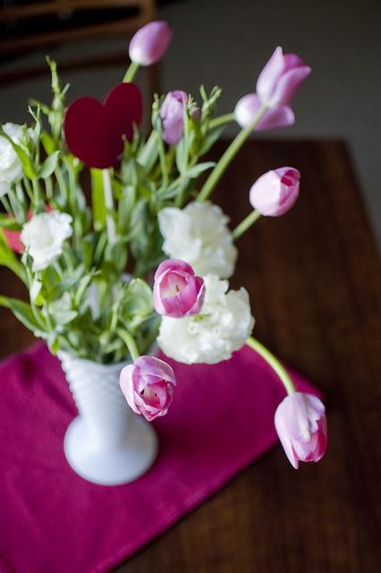 tulips, lisianthus, hearts