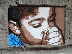 ' Jonas ' - stencil on wood - by KrieBeL (_Kriebel_) Tags: street urban stencils art graffiti stencil belgique bart lisa jonas belgica savoye urbain pochoir pochoirs kriebel knockaert streetartbelgium belgin kriebelized sjablone