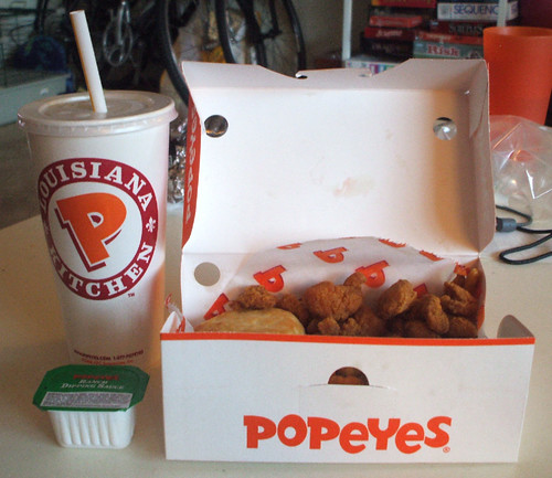 Popeyes Red Hot Popcorn Chicken Meal
