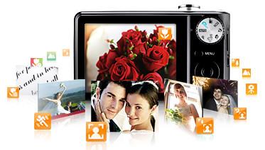 Samsung-Camera-Digital-PL100-124-Megapixels-Duplo-LCD-LCD-Frontal-4-GB-Capa-Smart Auto (reconhecimento inteligente de cena)