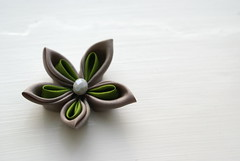 Kanzashi - Columbine (cuttlefishlove) Tags: flower japan japanese petals brooch silk craft ornament folding hairclip kanzashi fascinator hairornament habotai habotae