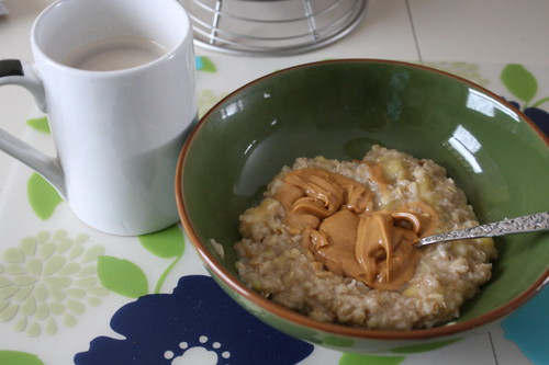 coffee and stovetop oats with banana and peanut butter