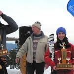 Overall men and womens winners Dimitri and Kelly receive the Enquist trophies from Harold Enquist Jnr and his wife Phyllis at the 75th clebration of the Enquist Race