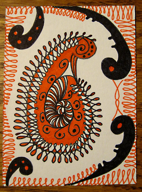 Orange Paisley Doodled ATC