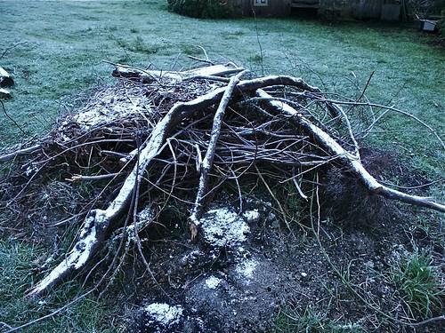Snow on the burn pile