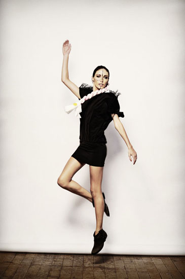 Jumping shot long fabric brade, Shine By Three, Tribal Editorial Fashion Shoot - Photography by Kent Johnson.