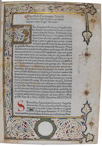 Illuminated border in Pius II, Pont. Max.: Epistolae in Cardinalatu editae