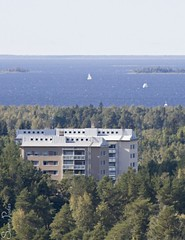 20100904_04398b (Fantasyfan.) Tags: sea building topv111 tag3 taggedout forest buildings finland boat topv333 scenery tag2 tag1 view apartment sail nordic oulu alppila fantasyfanin