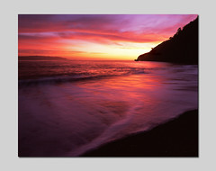 Kirby Cove and Color (RZ68) Tags: pink sunset sea sky sun seascape black film beach water set clouds sunrise mediumformat dawn bay kirby sand san francisco waves cove no marin wave velvia shore foam headlands provia strait ggnra e100 rz68