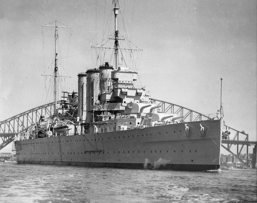 Circa 1939: HMAS CANBERRA [I], looking regal on the brink of war, and salutary lesson to all who followed her - Photo RAN.