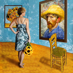 At the museum (YetAnotherLisa) Tags: flowers blue portrait selfportrait yellow museum self painting chair paintings sunflower impressionism impressionist vincentvangogh teleidoscope truthandillusion