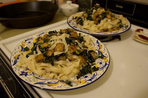crispy kale & tempeh, homemade noodles