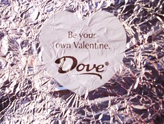 Be your own Valentine (Chchchaela) Tags: shiny candy heart chocolate foil dove saying valentine wisdom valentinesday