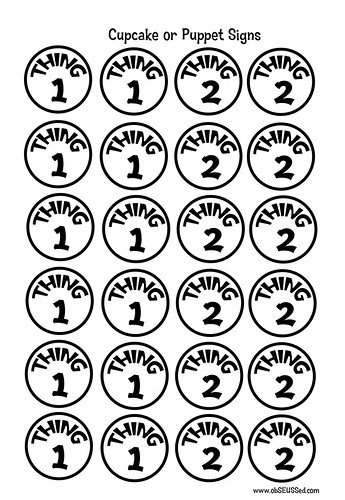 This is an image of Thing 1 Printable for 1 through 12