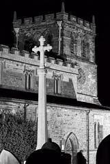 Church At Night (Carl Scott) Tags: blackandwhite bw white black church monochrome graveyard night worship cross prayer 1001nights mearsashby