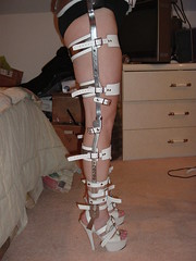 Side View of the Locked Leg Braces with Sandals (KAFOmaker) Tags: feet leather fetish foot high control legs braces lock sandals steel leg wrapped encased bondage device strap torso heel elk straight tight bound buckle locked brace restricted sandal joint buckles chained immobilized restraint restriction polio laced kafo restrained encase orthopedic imprisoned strapped heeled braced restrict buckled encircled immobilize tightly kneepad tlso tlso1