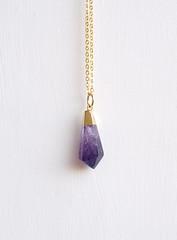 (emmalou ) Tags: rock stone vintage gold necklace purple crystal mineral amethyst