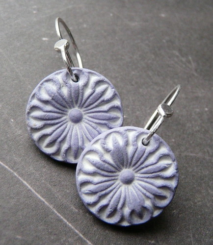 Porcelain Earrings - Honeysuckle in Lavender