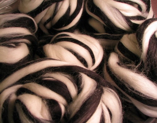 Black and white wool roving