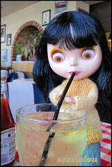 ... and ... (sozzielou) Tags: blue light food face yellow dinner real lunch eyes doll boyz diner fringe jeans eat american denim blythe hungry dine brunette bangs goldie takara allgoldinone cardigan edna matte cardi bratz bl littlepebble