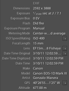 Lightroom EXIF tab