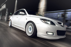 dL's Mazda 3 (RCubedPhoto) Tags: white motion cars speed movement sony automotive rig mazda rolling mazda3 axela nex rcubed nex5 rcubedphoto