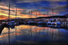 Morning reflections (Theophilos) Tags: morning sea sky reflection clouds marina greece crete rethymno sailers