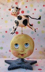 The Cow Jumped Over the Moon (thepolkadotpixie) Tags: glitter folkart polka dot pixie nurseryrhyme mothergoose handsculpted paperclay