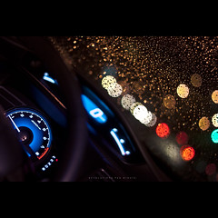 201/365 Revolutions Per Minute (brandonhuang) Tags: blue light car rain night honda lights drops dof bright bokeh raindrops civic dashboard windshield raindrop rpm strobe strobist brandonhuang
