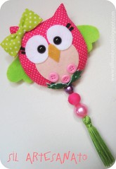 Pink and Green Owl (Sil Artesanato) Tags: