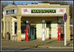Magnolia Gasoline Station (Dusty_73) Tags: road trip usa building brick station vintage highway pumps texas pegasus united mobil 66 historic gas route american magnolia restored states roadside shamrock fuel petroliana