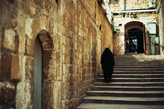 Old City Alley (Or Hiltch) Tags: woman film stairs 35mm dark israel iso200 ancient alley jerusalem explore lone walls  oldcity nikonf5 kodakgold200