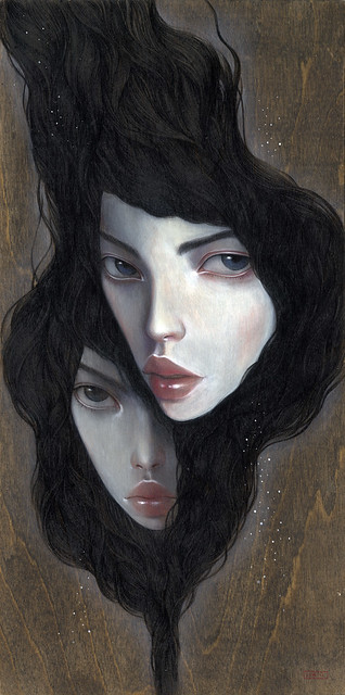 "Strangers. 9"" x 18"".  Acrylic & Colored Pencil on Wood. © 2011"