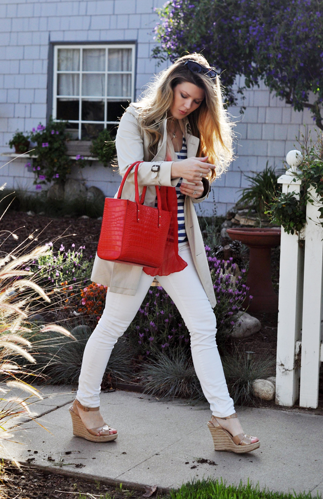 nautical look, red white and blue, white jeans, burberry trench coat, red tote, kate spade bag, vintage scarf, ombre, striped, stripes, jimmy choos, espadrilles, tom ford sunglasses, DSC_0265