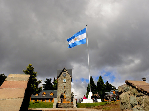 Plaza in Bariloche with Argentine Flag