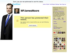 Democratic right twitter-blocked by @MPJamesMoore