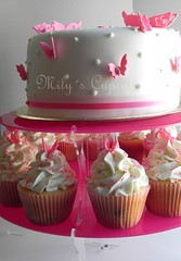 Cake and cupcakes con deco mariposas para Luana (Mily'sCupcakes) Tags: pink argentina cake butterfly cupcakes buenos aires mily´s