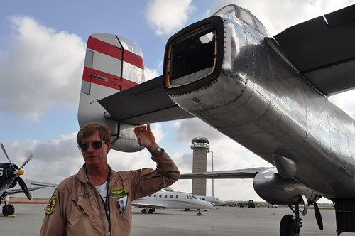 DAV Flight Crew Member Syd Jones Explains Photo Op at End of DAV's B-25 Bomber, Panchito