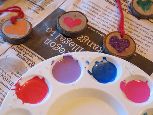 Pretty painted valentine hearts