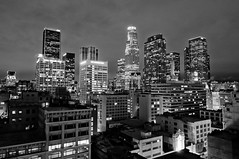 the neon lights are on me tonight. (red.dahlia) Tags: urban skyline night losangeles cloudy downtownla roofdeck ratt usbanktower roundandround musicallychallenged foxbldg