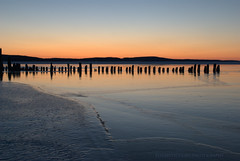 Later there was an otter, but I'm not so good at moving subjects. (Elizabeth Glass) Tags: winter sunset ice nikon michigan boynecity d60