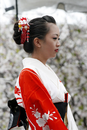 Girl in Beautiful Red Kimono