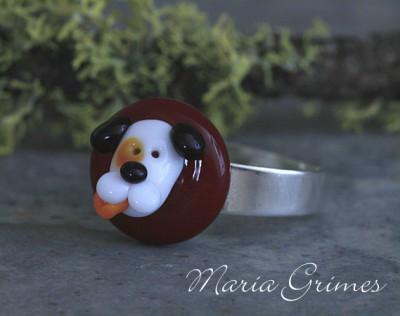 Lampwork Dog Ring