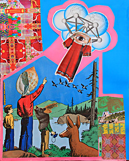 LARRY CARLSON, El Lobo Levitate, collage on paper, 11x15in., 2011.