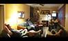 Weekend (daveelmore) Tags: friends copyright lowlight livingroom allrightsreserved jamesbond watchingamovie 50mm114 omzuiko legacylens ommicro43adapter 7photopanoramicstitch ©daveelmore