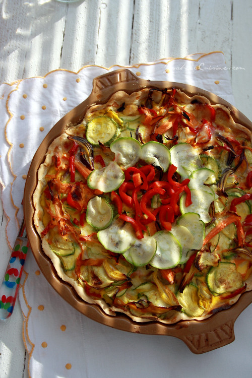 Vegetable and Camembert Quiche