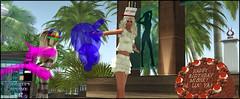 (Bleem Belargio) Tags: birthday wood music hat cake club balloons dance dancing chocolate stage bluesky sl palmtrees birthdaycake secondlife blonde chocolatecake balloonanimals