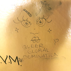 Queer Global Domination (Exile on Ontario St) Tags: queer global domination graffiti mtrodemontral snowdon montrealmetro station activism dessin drawing montral lgbt sharpie crayon montreal queers lgbtq eyes yeux cils eyelashes mtro transport transit commun subway metro square squareformat