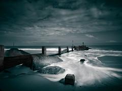 Ebb and flow (Colin-47) Tags: ebbandflow sea seashore surf sky september norfolk longexposure waxham beach sand toned groyne rocks